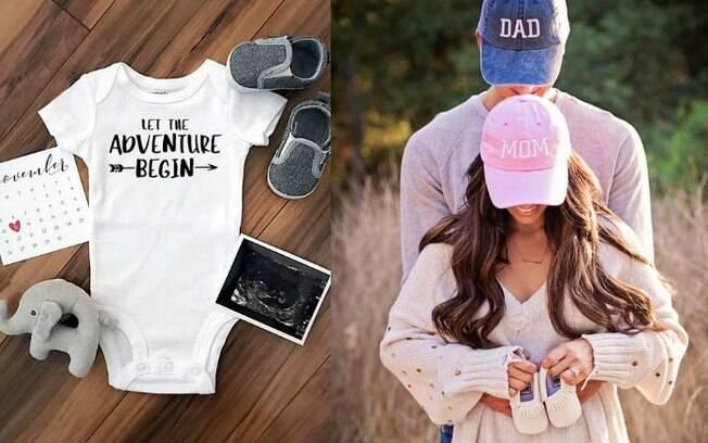 Roupinhas e sapatinhos de bebê também podem ser usados na hora de tirar a foto para anunciar uma gravidez