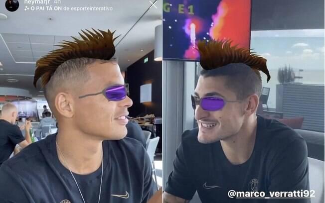 Thiago Silva e Verratti com o filtro do Neymar