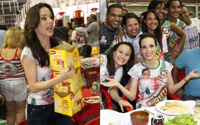Ana Furtado entre os integrantes da escola de samba