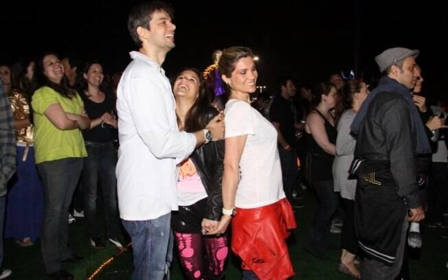Otaviano Costa, Flávia Alessandra e Giulia na plateia do Rock in Rio