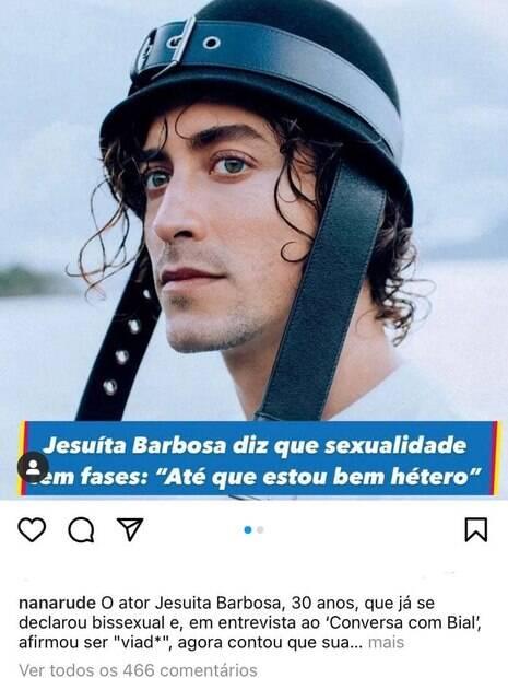 'Chega mais', diz Anitta sobre fala de Jesuíta Barbosa sobre sua sexualidade