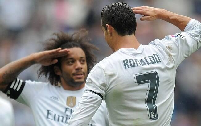 Marcelo e Cristiano Ronaldo em ação pelo Real Madrid