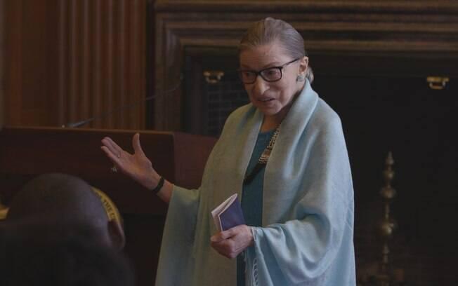 A juíza Ruth Bader Ginsburg em cena do documentário sobre sua trajetória