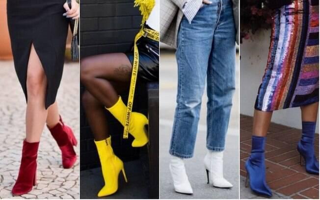 As botas de veludo e vinil nas cores vermelho, amarelo, branco e azul são as que fazem mais sucesso entre as fashionistas