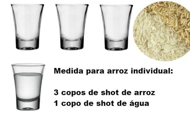 Medida da porção individual de arroz