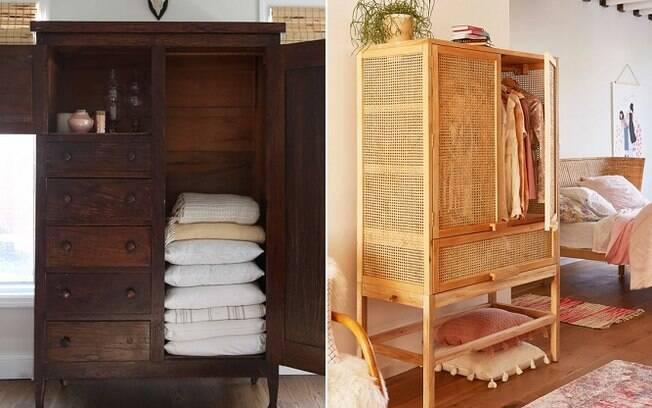 Nesse cômodo, não é necessário ter um guarda-roupa enorme; armários pequenos ou gaveteiros fazem o trabalho