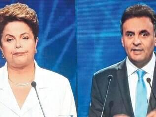 Lá e cá. Dilma e Aécio passaram a maior parte do debate da Band trocando alfinetadas e acusações