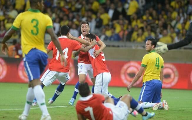 Jogadores do Chile comemoram gol no Mineirão