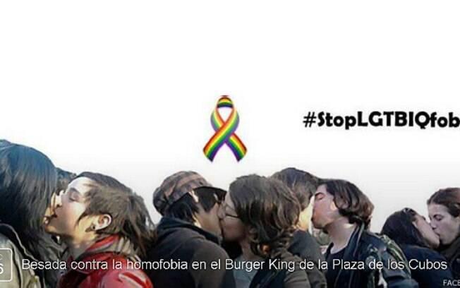 Campanha espanhola pretende promover um beijaço em frente ao Burger King em que dois homossexuais foram expulsos por se beijarem