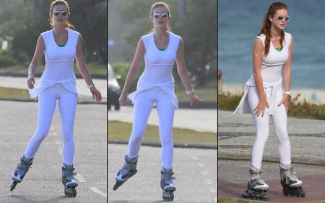 Marina Ruy Barbosa passeia de patins