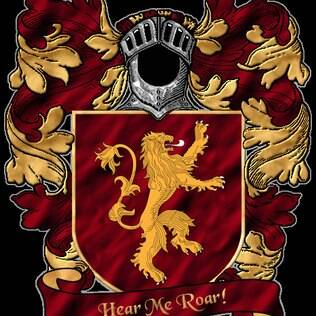 O brasão da Casa Lannister é um leão dourado em fundo vermelho