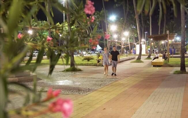 Os viajante ficaram encantados com a cidade, que mesmo a noite é cheia de atrações