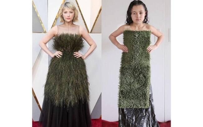 Uma grama sintética e um saco de lixo é o suficiente para representar o vestido que a atriz usou em uma premiação