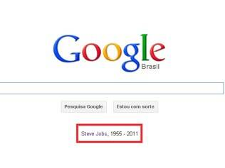 Logotipo do Google com homenagem a Steve Jobs