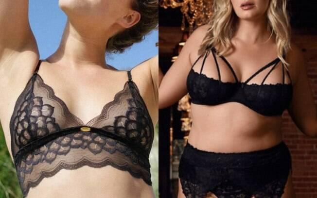 mulheres usando lingerie preta