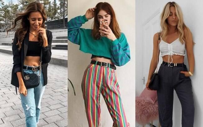 Cropped é uma tendência mundial, assim como a cintura alta. Então por que não combinar isso em looks com cinto estilosos