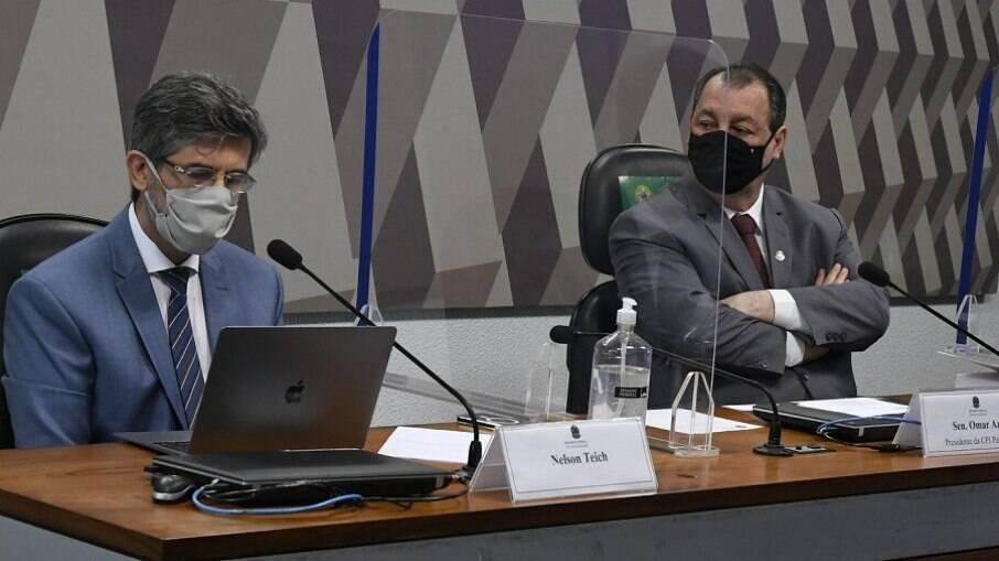 Nelson Teich presta depoimento nesta quarta-feira (5) na CPI da Covid em sessão comandada por Omar Aziz