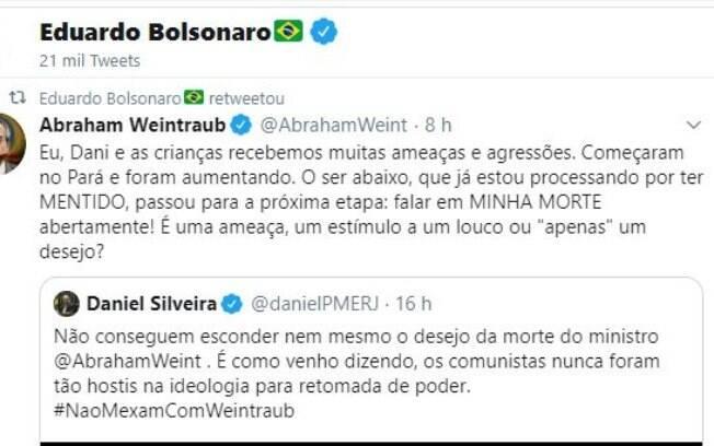 Eduardo Bolsonaro compartilhou mensagem de apoio a Weintraub