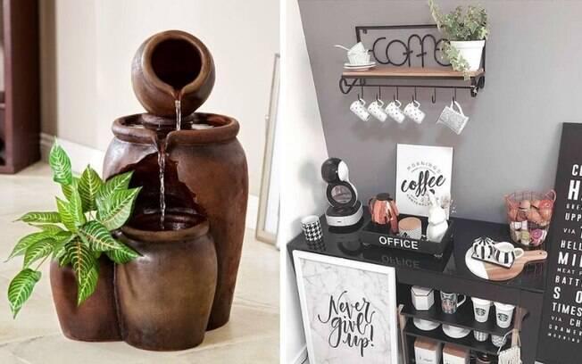 Fontes de água internas e espaço especial para o café estão entre as tendências de decoração do Pinterest para 2020