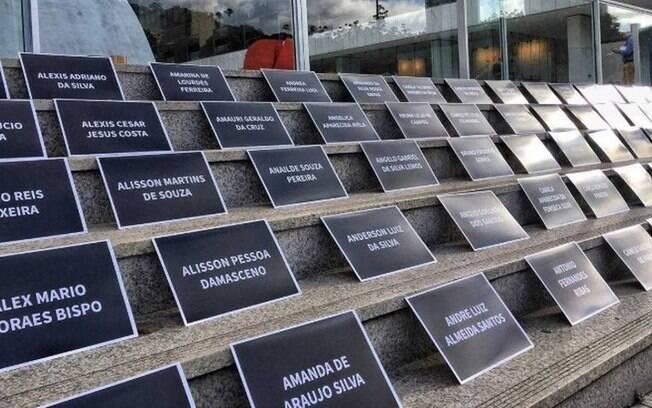Protesto de vítimas da Vale em frente a sede da empresa