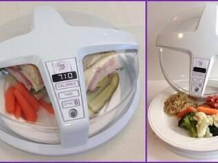 Cúpula de vidro em cima do prato é protótipo que promete calcular na hora quantas calorias serão ingeridas
