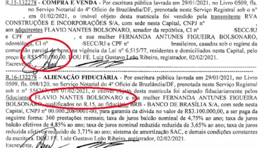Trecho da matrícula do imóvel com o registro da compra por Flávio Bolsonaro e esposa