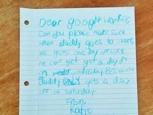 A cartinha de Katie.