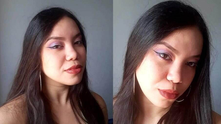 Maquiagem com algumas cores da paleta