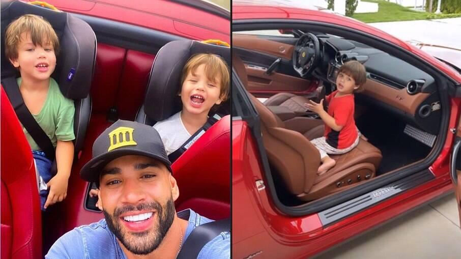 Gusttavo Lima mostra filhos brincando em Ferrari