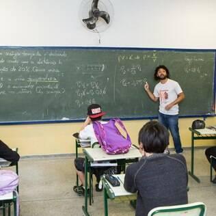 Aula do ensino médio em escola pública de São Paulo