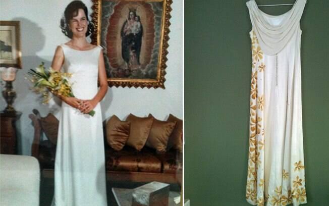 Cansada de ver o vestido de noiva encalhado no armário, a estilista Bia mandou pintá-lo