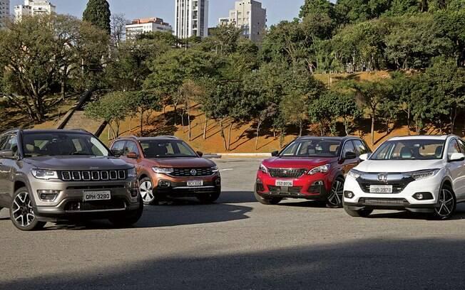 Jeep Compass vs Honda HR-V vs VW T-Cross vs Peugeot 3008: Todos com seus atributos e as suas histórias. Quem leva a melhor?