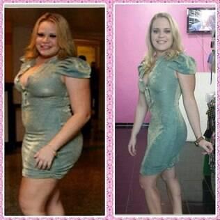O antes e o depois de Paulinha com o mesmo vestido