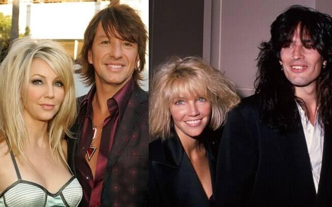 Heather Locklear com os ex-maridos roqueiros: Richie Sambora, em 2009, e Tommy Lee, em 1989