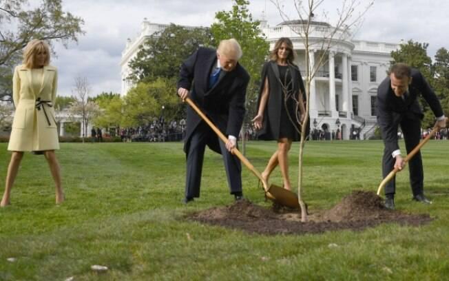 Durante visita aos EUA, Trump e Macron plantaram uma árvore na Casa Branca