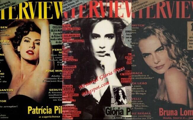 Patrícia Pillar, Glória Pires e Bruna Lombardi na capa da extinta Interview, revista de Andy Warhol