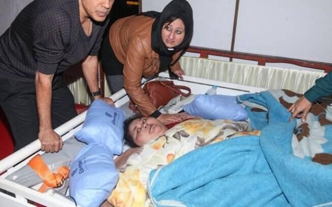 A egípcia Iman Ahmad Abdulati, considerada como a mulher mais gorda do mundo, será operada na Índia
