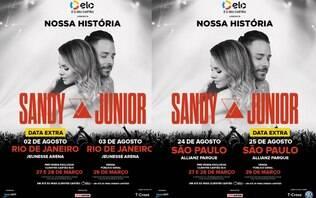 Após alta procura, Sandy e Jr. abrem shows extras no Rio e em São Paulo