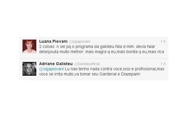 Luana posta mensagem para perfil fake de Galisteu, que sugeriu que a atriz procure um psiquiatra e tome Gardenal