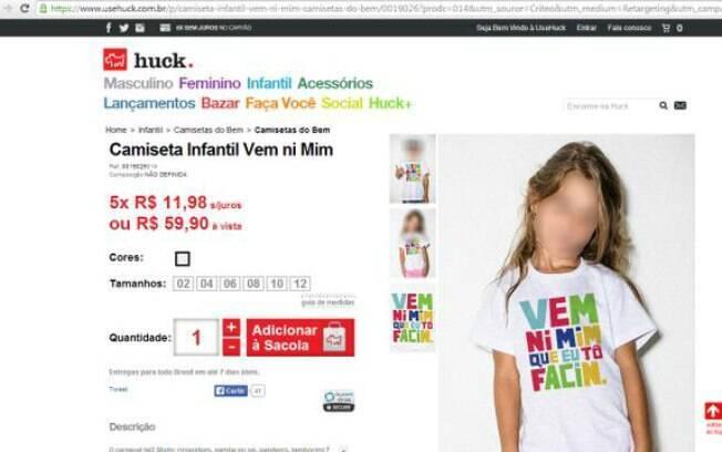 Camiseta que era vendida no site UseHuck