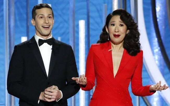 Andy Samberg e Sandra Oh comandaram a apresentação da cerimônia.