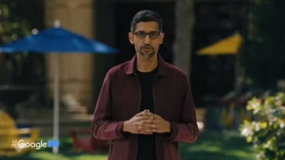 Sundar Pichai, CEO do Google, na abertura do Google I/O