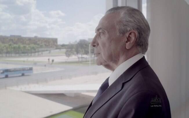 Propaganda do PMDB mostra a imagem de Michel Temer, mas não exibe falas do presidente
