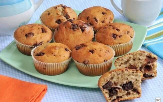 Muffin de banana e chocolate fácil