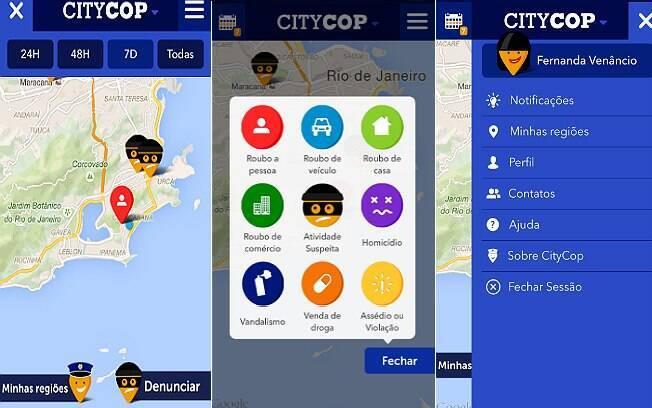 Para se cadastrar no app CityCop, basta o usuário informar seu e-mail ou conta do Facebook