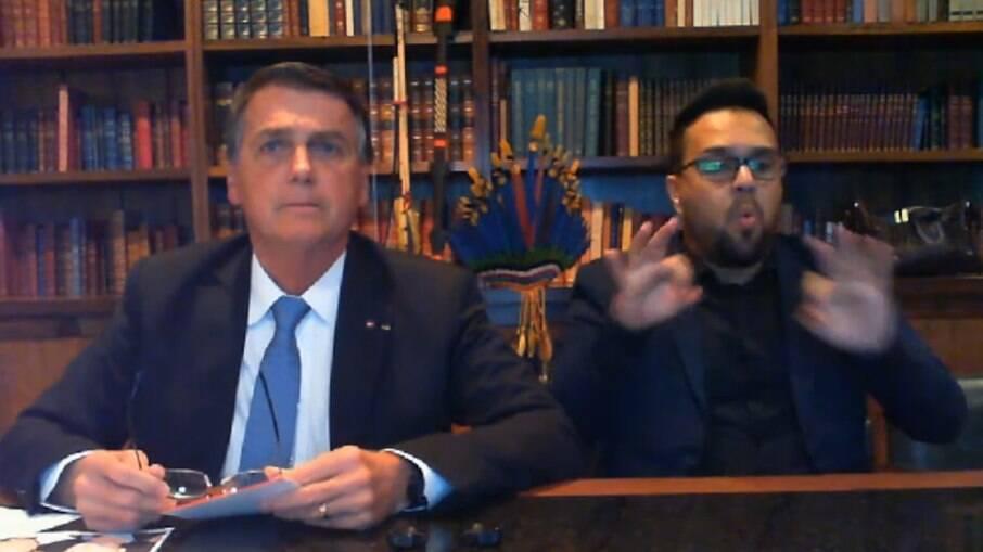 Presidente Bolsonaro durante pronunciamento ao vivo