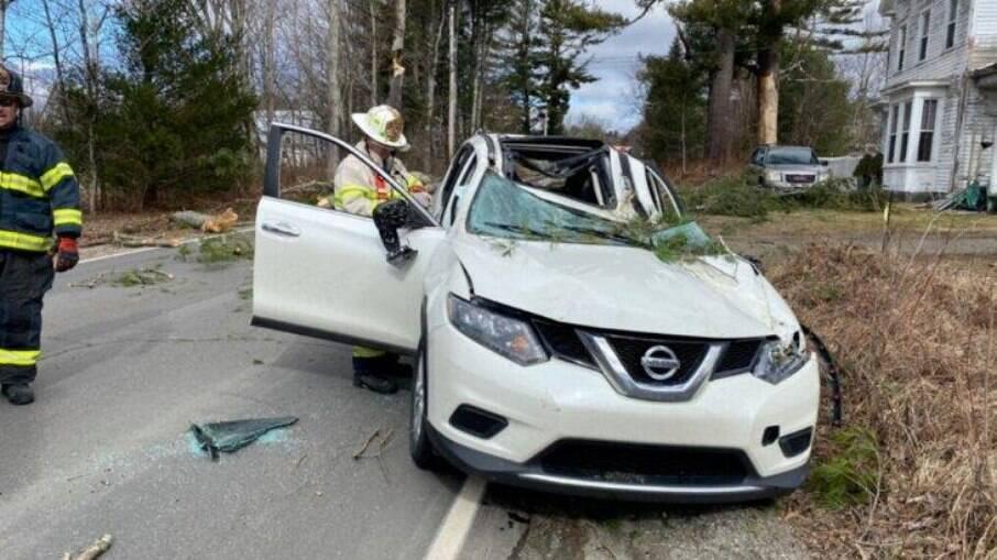 Carro de Rochelle após o acidente