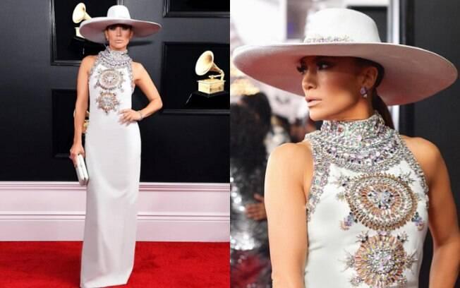 Looks das famosas: Jennifer Lopez chamou atenção no tapete vermelho com um vestido Ralph and Russo com gola decorada