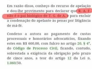 Trecho do processo de paternidade de Rodrigo Faro (destaque da assessoria de imprensa)