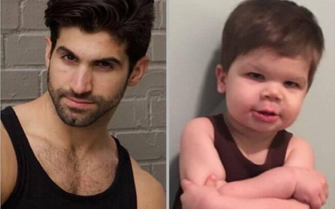 Mãe tira o sarro de irmão modelo recriando suas fotos com o filho de 2 anos e postando o resultado no Instagram